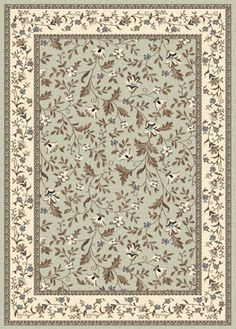 The Radici USA Alba 1876 Area Rug - Green suits traditional homes that need a kick of fresh and springy color. This soft, olefin rug has a mint-green background bordered in ivory and comes in your choice of size. Leaf Border, 4x6 Rugs, Synthetic Rugs, Farmhouse Rugs, Carpet Design, Rugs Online, Online Home Decor Stores, Floral Motif, Throw Rugs