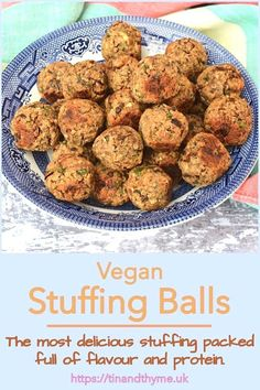 Chestnut and Tempeh Vegan Stuffing Balls. The best vegan stuffing with all the comfort and familiarity of traditional stuffing, but packed with protein and flavour too. Bake in a tray, or shape into balls. Whether you're vegetarian, vegan or carnivorous, you'll love this chestnut and tempeh stuffing. #TinandThyme #StuffingBalls #VeganStuffing #ChestnutStuffing #TempehRecipe