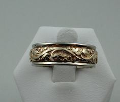 Exquisite 14k Yellow Gold Men's Floral Pattern by rubylanejewelers, $1325.00