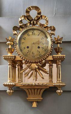 Antique Swiss Gilded Wall Clock | Mantel/Wall | Inessa Stewart's Antiques
