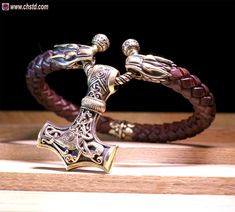 MJOLNIR - Leather Bracelet / Wolfs - store: http://www.chstd.com/product/leather-bracelet-wolfs