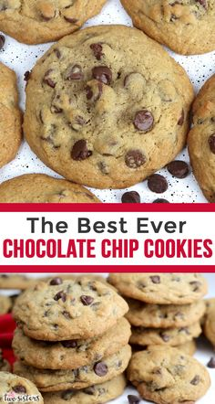 The Best Ever Chocolate Chip Cookies - Two Sisters Crispy Chocolate Chip Cookies, Homemade Chocolate Chips, Chocolate Chip Recipes, Chocolate Chip Cookies Recipe With Pudding, Buttery Cookies, Yummy Cookies, Homemade Cookies, Crunchy Cookies Recipe, Easy To Make Cookies