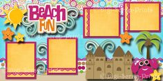 BEACH vacation 2 premade scrapbook pages for album layout scrapbooking DIGISCRAP | eBay