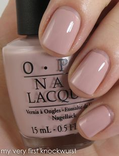 """Just bought and it's my new fav!   NEW #OPI Germany Collection """"My Very First Knockwurst"""" rosy nude with grey undertones @Oh Nuts!!! you would love this."""