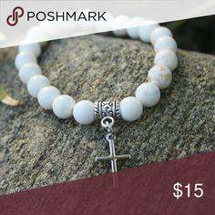 Howlite cross charm bracelet Handmade elastic genuine howlite silver cross charm bracelet Jewelry