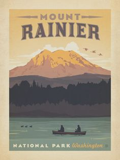 Mount Rainier National Park - Anderson Design Group has created an award-winning series of classic travel posters that celebrates the history and charm of America's greatest cities and national parks. This print celebrates the majestic beauty of Mount Rainier National Park.<br />