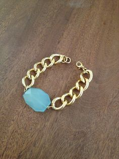 Gold Chain Bracelet with Turquoise Green by CathrynAnnDesigns, $20.00