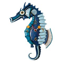 Allen Designs Salty Seahorse Pendulum Clock Wall Clocks, New Diy Clock, Clock Art, Clock Decor, Clock Ideas, Big Wall Clocks, Pendulum Wall Clock, Clocks For Sale, Beach Wall Decor, Fish Design