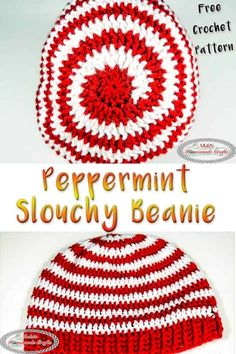 This Peppermint Slouchy Beanie is easy and fast to crochet. As a free crochet pattern it comes with a detailed photo and video tutorial to help you learn to make this beanie. #freecrochetpattern #freecrochet #pattern #crochet #freepattern #peppermint #slouchy #beanie #peppermintbeanie