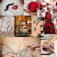 Black, red & gold wedding theme...staches, lips and red roses.