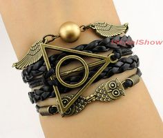 Harry potter bracelet,wing bracelet,owl bracelet,charm bracelet,gift for girl friend,boy friend.friendship christmas gift