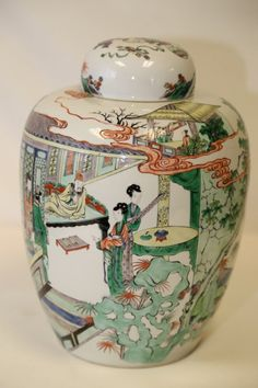 A Famille Rose Verte Porcelain Jar and Its Cover, Kangxi Period, H 36cm