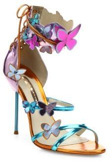 Talk about a haute look. Check out this Sophia Webster Harmony Metallic Leather Butterfly Sandals today. Fancy Shoes, Pretty Shoes, Crazy Shoes, Beautiful Shoes, Cute Shoes, Me Too Shoes, Shiny Shoes, Metallic Shoes, Metallic Leather
