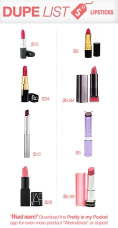 Dupes, lipstick dupes, lip color dupes, mac dupes, chanel dupes, nars dupes, clinique black honey dupe, makeup alternatives, cheap version of expensive makeup