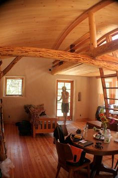 Interior of Oregon strawbale home.