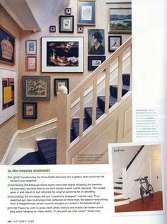 Gallery Stairwell - from Domino magazine. Stairway Photos, Stair Gallery, Gallery Walls, Decorating Stairway Walls, Stair Landing, Cute House, Staircase Design, Staircase Ideas, Stairways