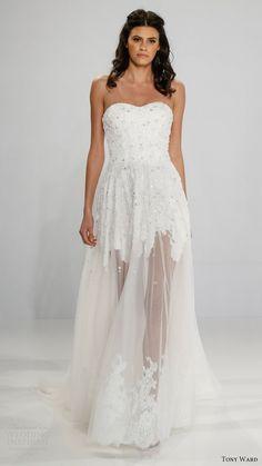 tony ward bridal 2017 strapless sweetheart aline wedding dress (brigid) mv sheer skirt