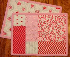 Valentine's Day Mug Rugs - Placemats - Snack Mats Pair