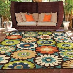 Carolina Weavers Indoor/Outdoor Santa Barbara Collection Corsage Multi Area Rug - x ft 8 in x 10 ft 10 in), Orange, The Curated Nomad Floral Area Rugs, Floral Rug, Blue Area Rugs, Floral Design, Outdoor Living Rooms, Indoor Outdoor Area Rugs, Outdoor Spaces, Outdoor Santa, Textiles