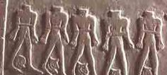 Victims of civil war, bound with ropes and with their heads cut off and placed between their legs, from the Narmer palette, about 3000 BC