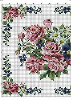 Cross Stitch Pillow, Cross Stitch Love, Cross Stitch Flowers, Counted Cross Stitch Patterns, Cross Stitch Designs, Cross Stitch Embroidery, Embroidery Patterns, Hand Embroidery, Flower Patterns