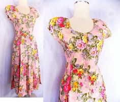 Floral Maxi Dress Sz S India Grunge Vintage 80s Midi BOHO Button Up Front