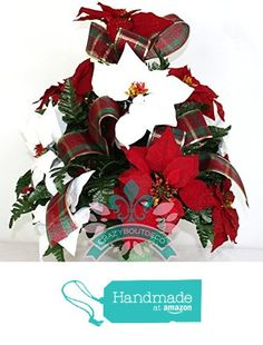 Beautiful XL Red And White Poinsettia's Available in 3 Inch Marker Vase from…