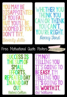 27 Classroom Poster Sets: Free and Fantastic - Motivational Quote Classroom Posters - Teach Junkie plakat Motivational Quotes For Students, Quotes For Kids, Quotes For The Classroom, Inspirational Classroom Quotes, Classroom Motivational Posters, Inspirational Classroom Posters, Math Quotes, Teacher Quotes, Inspiring Quotes