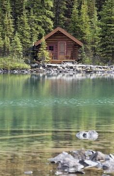 Tiny log cabin on a river