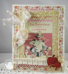 shabby chic, vintage label card created for The Shabby Tea Room using the Paper Sweeties Borders Stamp set by Tina Milbourn www.papersweeties.com