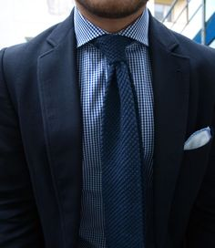 Gingam + Blue Knit Tie