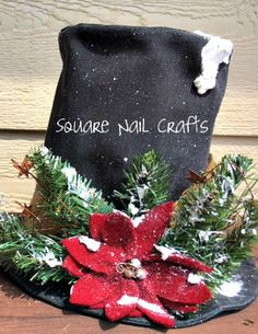 My 2016 Snowman Hat Tree Topper. Handmade by Square Nail Crafts www.facebook.com/squarenailcrafts
