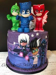 PJ Masks Cake for Christopher and Erin Pj Masks Birthday Cake, Toddler Birthday Cakes, 3rd Birthday Cakes, Boy Birthday Parties, Pj Masks Cake Topper, Pj Mask Cupcakes, Torta Pj Mask, Pjmask Party, Festa Pj Masks
