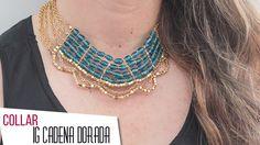 Cómo hacer un Collar con Indian Glass y cadena dorada Kit. 26720