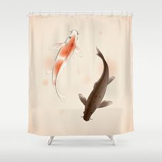Yin Yang Koi fishes in oriental style painting Shower Curtain