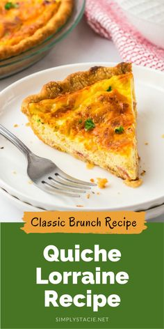 Quiche Lorraine - Easy and quick to prepare, this breakfast or brunch recipe will quickly become a weekly staple. It's full of flavor that comes from just the right combination of bacon, cheese, half and half and eggs. Plus a little nutmeg and paprika to take it to the next level.