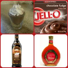 Mocha Nut Fudge Pudding Shots  1 small Pkg. chocolate fudge or dark chocolate instant pudding 3/4 Cup Milk 1/2 Cup Mocha Kahlua 1/4 Cup Amaretto 8oz tub Cool Whip Directions 1. Whisk together the milk, liquor, and instant pudding mix in a bowl until combined. 2. Add cool whip a little at a time with whisk. 3 Spoon the pudding mixture into shot glasses, disposable shot cups or 1 or 2 ounce cups with lids. Place in freezer for at least 2 hours