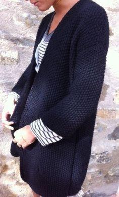veste,tricot,laine,point de riz
