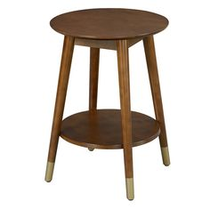 Wilson Mid Century Round End Table with Bottom Shelf -