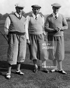 7 Sep 1935: Golfing Whitcombe brothers, all members of Britain's Ryder Cup Team, at the Leatherhead Golf Club. (These gentlemen are not characters in the Agatha Christie novel, just an example of men's golfing attire in the 1930s.)