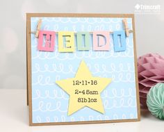 Create a charming keepsake card for a new born with my easy step by step tutorial New Baby Crafts, Inspirational Gifts, Blank Cards, Personalized Baby, Our Baby, New Baby Products, Baby Shower, Craft Ideas, Posts