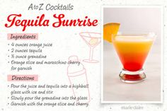 Tequila Sunrise Drink Recipe