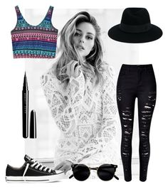 """""""Walk in black"""" by style0000 ❤ liked on Polyvore featuring Gabor, WithChic, Marc Jacobs, Maison Michel and Converse"""