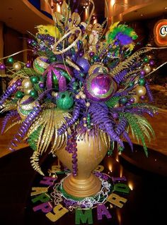 Mardi gras centerpiece at ip casino mardi gras centerpieces, mardi gras decorations, mardi gras Mardi Gras Centerpieces, Mardi Gras Decorations, Casino Decorations, Masquerade Decorations, Masquerade Party, Casino Night Party, Casino Theme Parties, Party Invitations, Party Favors