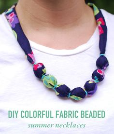 DIY Colorful Fabric Beaded Summer Necklaces // Twin Stripe