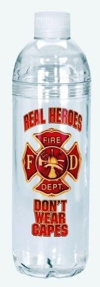 FIREFIGHTER ACRYLIC WATER BOTTLE with DOUBLE screw on/off top - FITS CUP HOLDERS