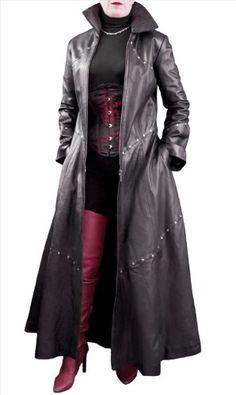 Ashwood Long Black Leather Studded Gothic-style Coat – Ladies/Womens (UK 16, Bust 40″)