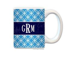 Turquoise/Navy Trellis Personalized Coffee Mug from Paper Concierge