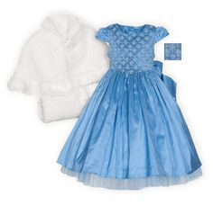 Ice Princess hand-smocked silk dress,perfect for any special occasion.Made exclusively for THE WOODEN SOLDIER.