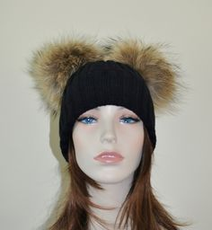 58b4d916cc4ab Double Pompom Hat Black Beanie Hat with 2 Fur Pom Pom Hat SALE Ski Women Hat